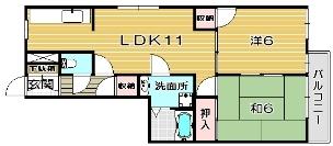 高槻市賃貸マンション・メゾンルミネの間取り102号室