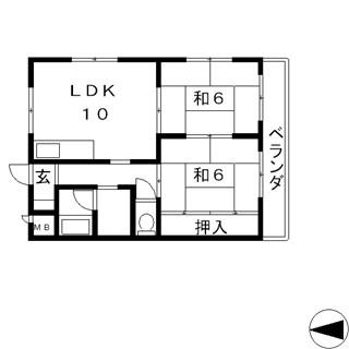 高槻市 賃貸マンション 南向き 環境良好 出丸町 2LDK レジデンス誠和 間取.jpg