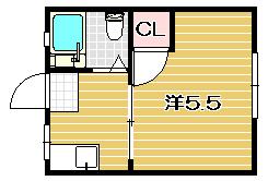 高槻市の賃貸アパート 岩井ハイツ203号室の間取り