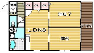 高槻市賃貸アパート メゾン・グリーン101号室 間取り図.jpg